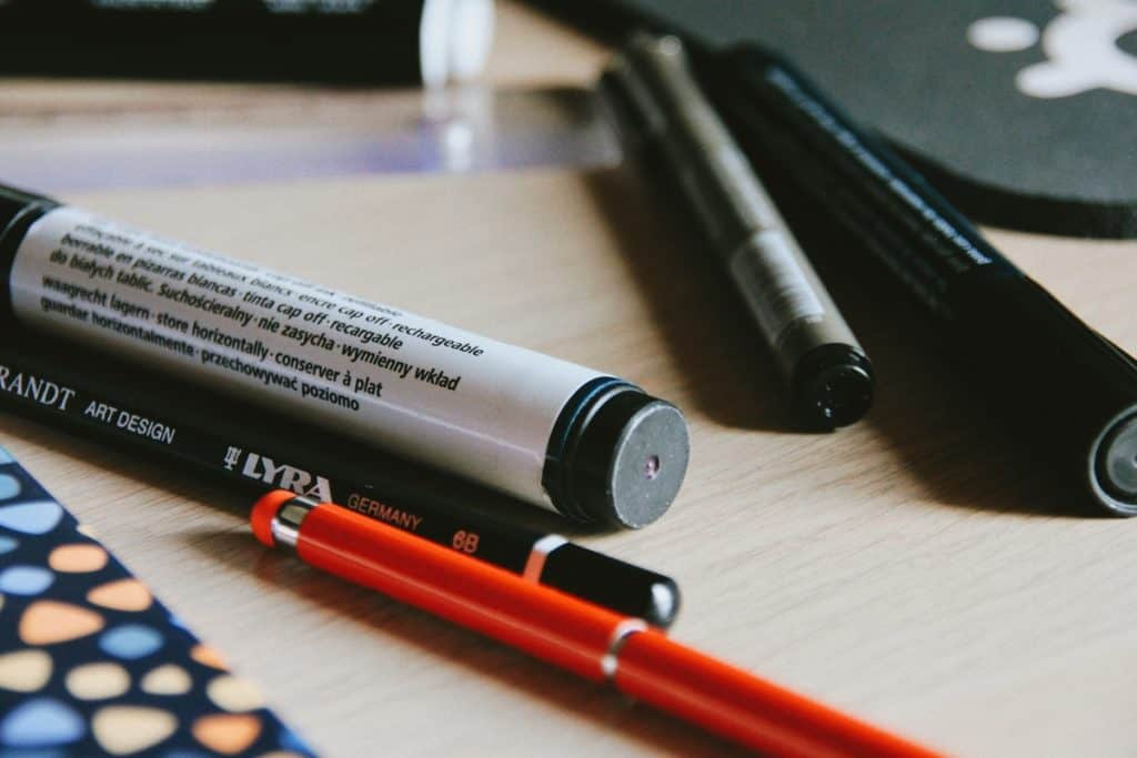 Several Types of Markers on the desk