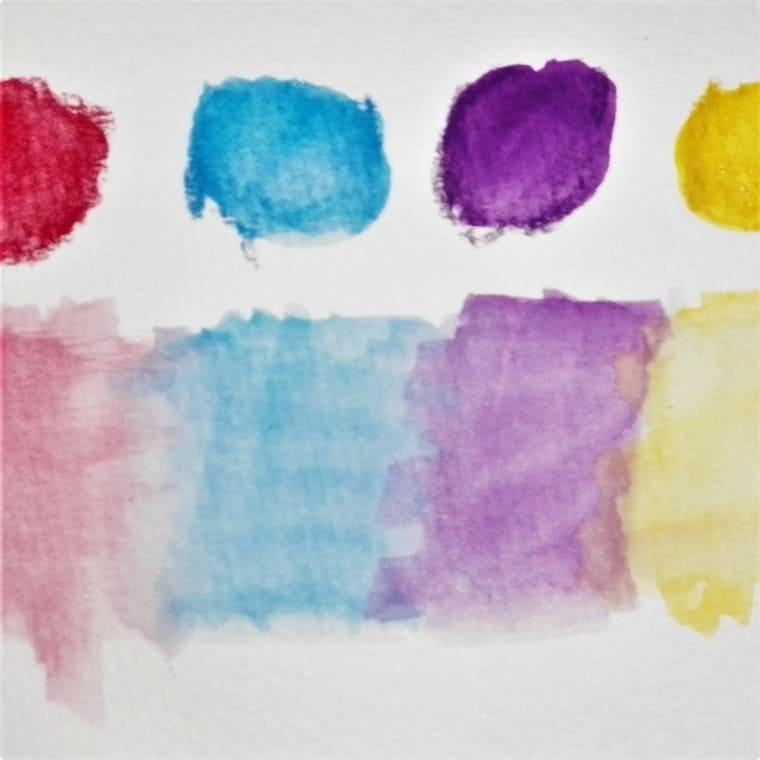 Watercolor pencil color palette on paper