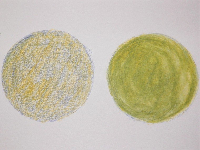 Mixing yellow and blue watercolor pencils dry vs activated with water