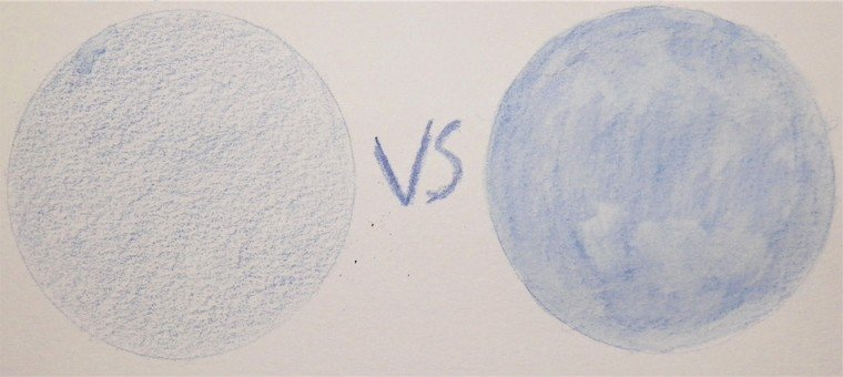 example of watercolor pencil dry versus water activated
